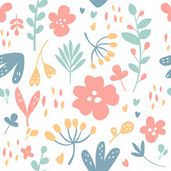 Flowers and plants seamless pattern. Vector cartoon illustration. Flat design, modern trendy style. Botany, nature, leaves, floral