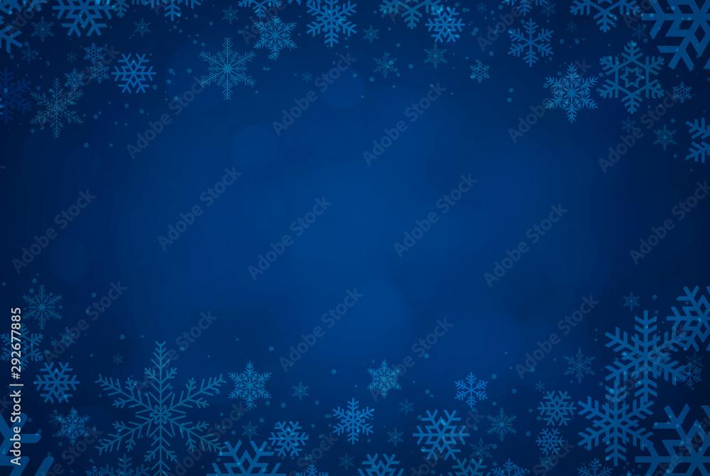 Fototapeta Blue Christmas background with snowflakes