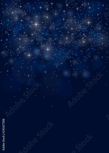 Obraz Blue Christmas night sky background - fototapety do salonu