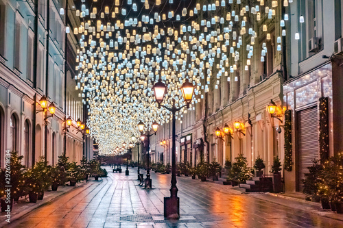 Moscow. Russia. The lantern in the city Christmas on the streets. Christmas lights Moscow streets. New year Moscow. A trip to Moscow during the winter holidays. Russian capital in winter.