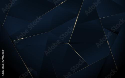 Fototapeta Abstract polygonal pattern luxury dark blue with gold background obraz