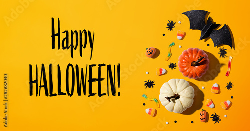 Happy Halloween message with Halloween theme background - flat lay - 292682030