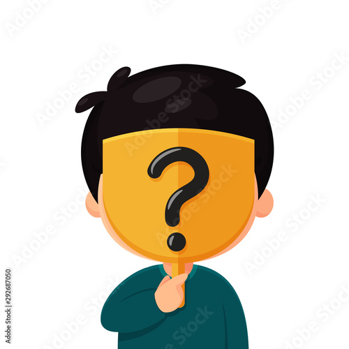 Fotografia Strange cartoon wearing a mask with question marks covering the real face The idea of a stranger on social media