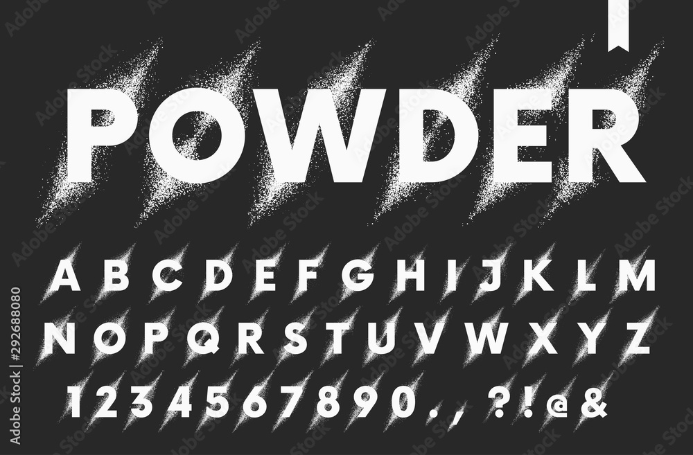 Fototapeta Vector set of latin alphabet, explosion of powder or paint in a diagonal direction, destruction of particles, detailed font isolated letters and numbers on a dark background