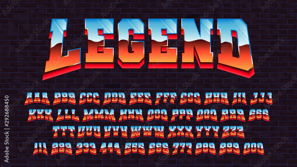 Fototapety, obrazy: Retro futuristic latin font, vector alphabet 80 x three types of tracing of one symbol, letters and numbers with a metallic effect, retro futurism arcade game typeface