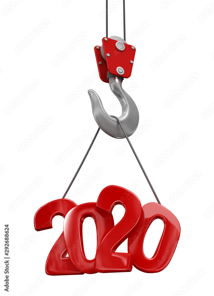 Fototapety, obrazy: 2020 on crane hook. Image with clipping path.
