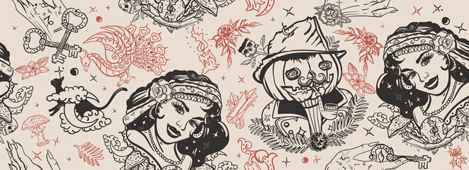 Halloween seamless pattern. Old school tattoo. Retro gothic fairy tale backgr...