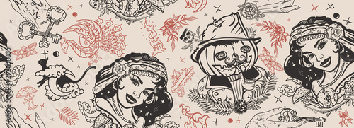 Halloween seamless pattern. Old school tattoo. Retro gothic fairy tale backgr...