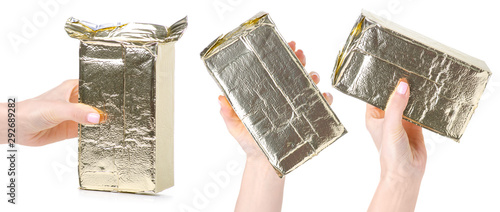 Set collage gold package of coffee in hand on white background isolation Wallpaper Mural