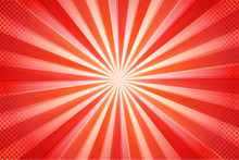 Cartoon Abstract Background Beautiful Red Sun Rays.