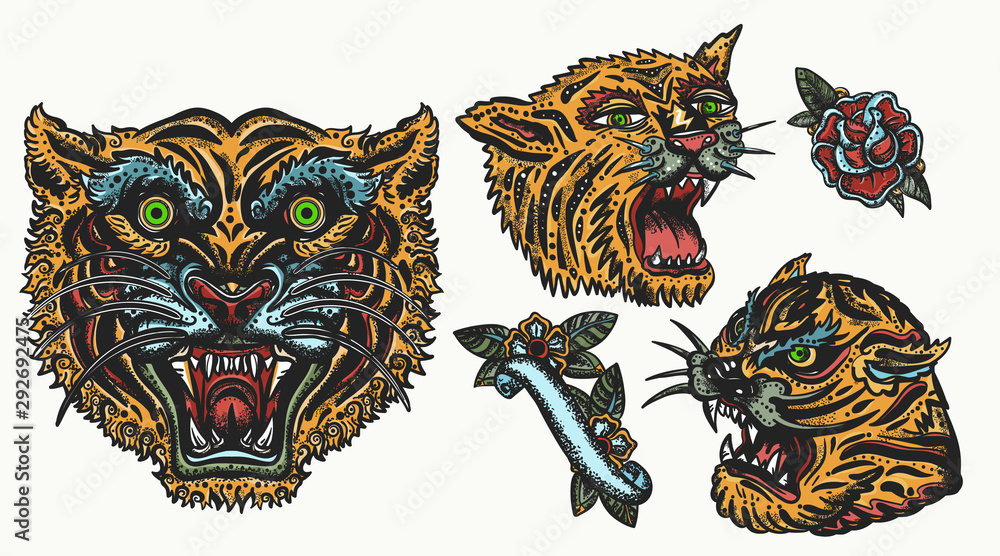 Fototapeta Tigers. Old school tattoo collection. Asian wild cats. Oriental style. Isolated elements. Traditional tattooing, japan style