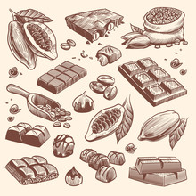 Sketch Cocoa And Chocolate. Cacao And Coffee Seeds And Chocolate Bars And Candies. Hand Drawn Sweets Isolated Vector Set
