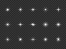 Light Effect. White Starburst Sparks, Bright Optical Flare With Rays. Glowing Dust Particles. Christmas Abstract Vector Isolated Elements