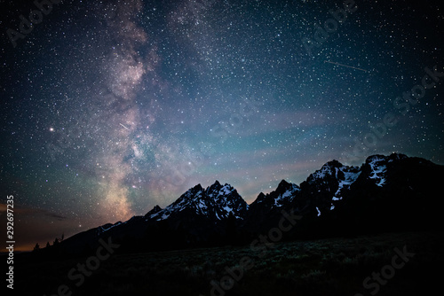 Tablou Canvas Grand Teton Mountains Silhouetted by the Milky Way