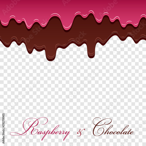 fototapeta na ścianę Dark chocolate, jam raspberry seamless pattern. Drip chocolate isolated white transparent background. Sweet melting cream. Dripping 3d design. Delicious dessert. Melted drop choco. Vector illustration