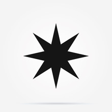 Icon Of Faceted Golden Star. R...