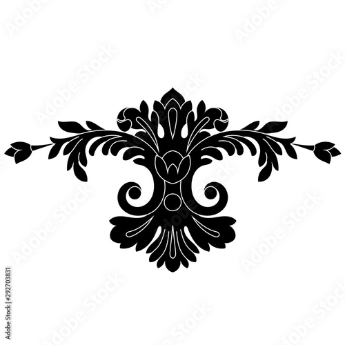 Black vintage baroque ornament, corner. Retro pattern antique style acanthus.Black vintage baroque ornament, corner. Retro pattern antique style acanthus.