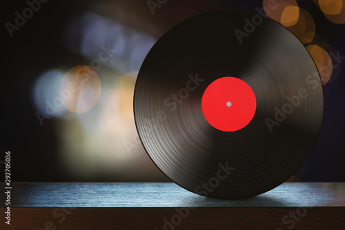 Fotografie, Tablou Vinyl disc on the table with abstract background