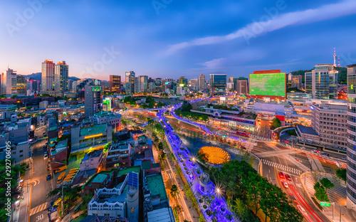 Fototapety, obrazy: Twilight view of seoul ro, seoul city south Korea.