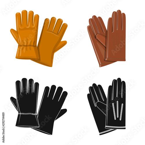 Valokuva  Vector illustration of glove and winter symbol
