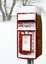 Snow Covered UK Postbox, Priddy, Mendip Hills, Somerset.
