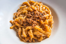 Tuscan Pici Pasta Dish With Meat Sauce