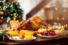Homemade Roasted Thanksgiving Day Festive Tradition Ideas Concept Delicious Turkey With All The Sides On Wooden Table