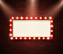 Retro Signboard With Lights. Advertising Banner On Brick Wall. Show Or Circus Advertising. Vector Illustration
