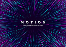Sci-fi Motion Wallpaper. Abstract Background Travel Through Time And Space. Futuristic Neon Poster. Trendy Music Banner Template. Vector Illustration