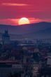 Sunset over the streets of Cluj Napoca, Romania