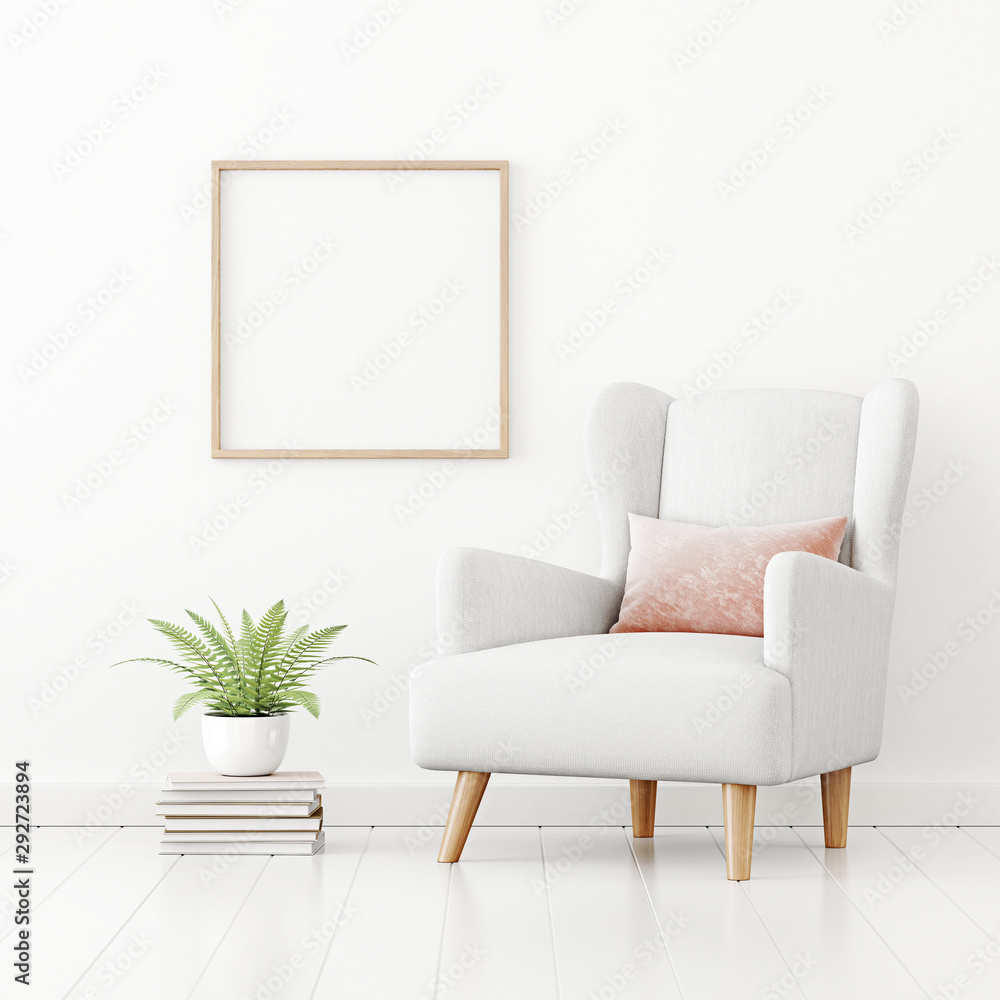 Fototapeta Poster mockup with square wooden frame hanging on the wall in living room interior with armchair, pink pillow and green fern plant on empty white background. 3D rendering, illustration.