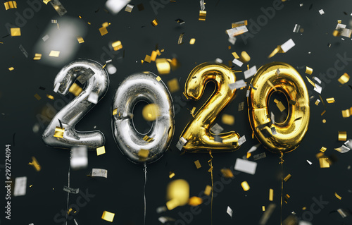 Poster Pays d Asie New year 2020 celebration. silver and gold foil balloons numeral 2020 and confetti on black background