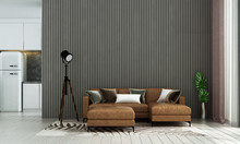 Modern Luxury Living Room Interior Design And Wood Stripe Texture Wall Pattern Background And Kitchen Room