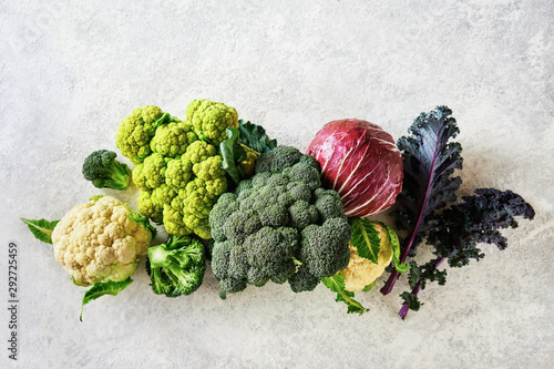 Foto Cabbage of different varieties on a light background