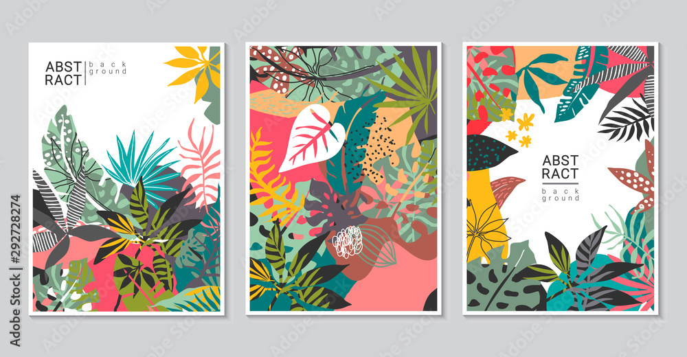 Fototapeta Vector collection of trendy creative cards with cut paper, floral exotic tropical elements, palm leaves