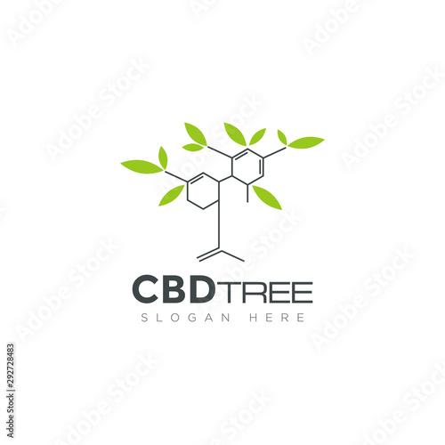 logo cbd tree, formula Cannabidiol biosynthesis and leaf hemp vector Canvas Print