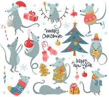 Vector Collection Of 2020 Chinese New Year Simbol. Hand Drawn Set Of Cute Mice With Santa Hat, Fir, Gifts, Garland.