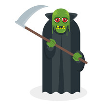 Green Toothy Zombie With A Scythe In His Hands.