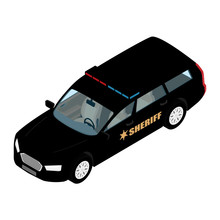 Police Car Isometric View Isolated On White Background. Police Transport. Sheriff Car