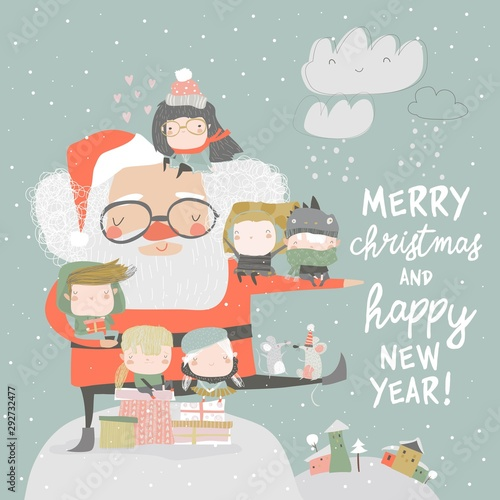 Santa Claus with happy children and gifts