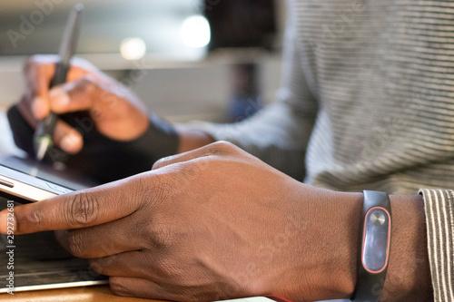 man writing on wacom tablet - 292732681