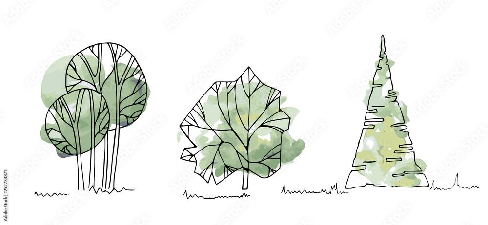 Rodzaje drzew, krzewów, szkice akwareli drzewnych do projektowania krajobrazu. Wektorowa ilustracja, ręka rysująca, odizolowywająca na białym tle. <span>plik: #292733871 | autor: Agata</span>