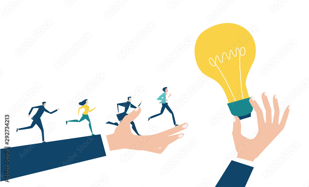 Fototapeta People running towards the professional success. Developing, taking a risk, support and solving the problem business concept illustration.