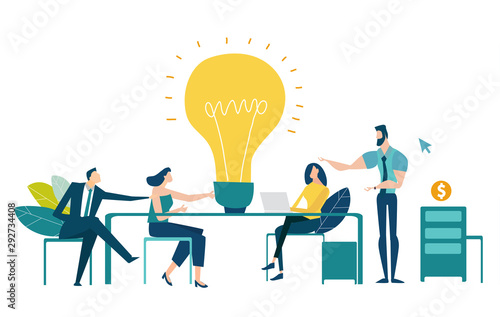 Fototapety, obrazy: Team of professional people talking over the meeting. light bulb as a symbol of new idea and finding solution. Developing, taking a risk, support and solving the problem business concept illustration.