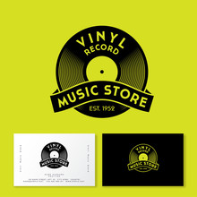 Vinyl Record With Ribbon. Logo For Vintage Music Store. Identity In Engraving Style. Business Card.