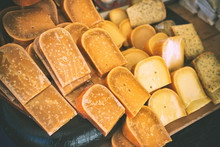 Selection Of Dutch Cheese At Farmers Traditional Market