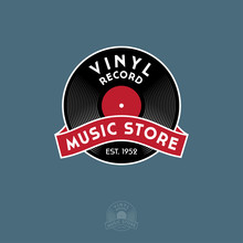 Vinyl Record With Ribbon. Logo For Vintage Music Store. Identity In Engraving Style.
