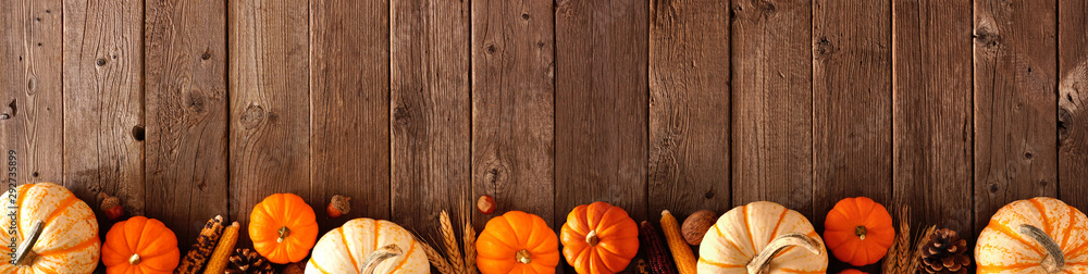 Fototapety, obrazy: Autumn bottom border banner of pumpkins and fall decor on a rustic wood background with copy space