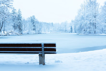 Empty Bench In A Snowy Park Ne...