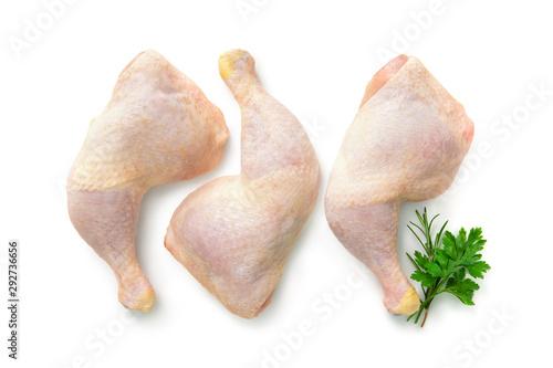 Fotobehang Kip Raw chicken legs isolated on white
